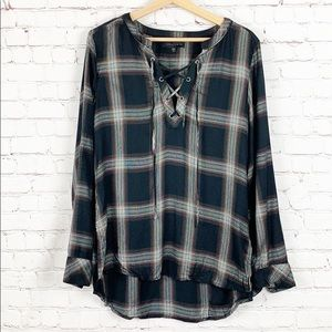 SANCTUARY | BLACK PLAID BLOUSE